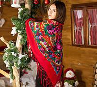 Женский украинский платок большого размера (125х125см, красный, 100%-акрил, новый)