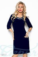 Классическое элегантное женское платье-футляр с бусинами рукав три четверти костюмка батал