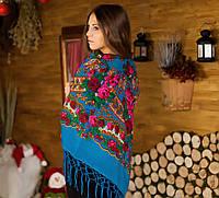 Украинский платок голубого цвета с бахрамой (125х125см, голубой, 100%-акрил, новый)