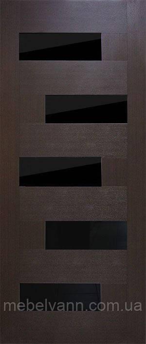 Дверное полотно Домино ПВХ (черное стекло)