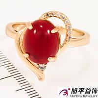 Кольцо лимонное золото Овальный камень (натур.) в сердце