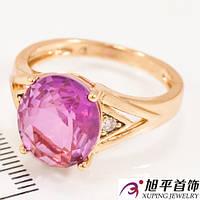Кольцо лимонное золото Овальный камень - хамелеон