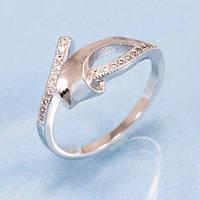 Кольцо родированное 2 тонких линии мелких камней
