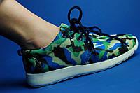 Женские кроссовки зелено-синие