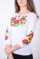 Модная молодежная вышиванка рукав 3/4 с подсолнухами в белом цвете