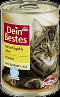 Корм для кошек и котов с мясом и печенью домашней птицы Dein Bestes mit Geflügel & Leber in Sauce  400 гр