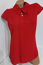 Блузка из шифона 203/1 красная, фото 3