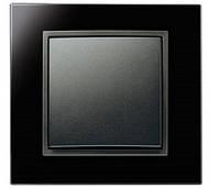 Выключатель 1-клавишный универсальный Berker B.7 чёрный/стекло черное