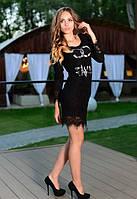 Женское черное платье с гипюром