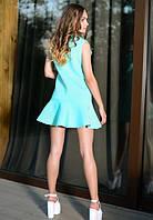 Женское мятное короткое платье