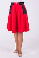 """Стильная женская юбка-полусолнце """"Скарлет"""" красного цвета"""