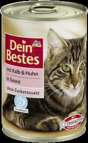Корм для кошек и котов с телятиной и курицей в соусе Dein Bestes mit Kalb & Huhn in Sauce für Katzen 400 гр