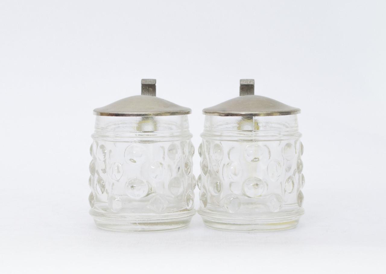 Два винтажных мини бокала, стекло, олово, Германия 30 мл