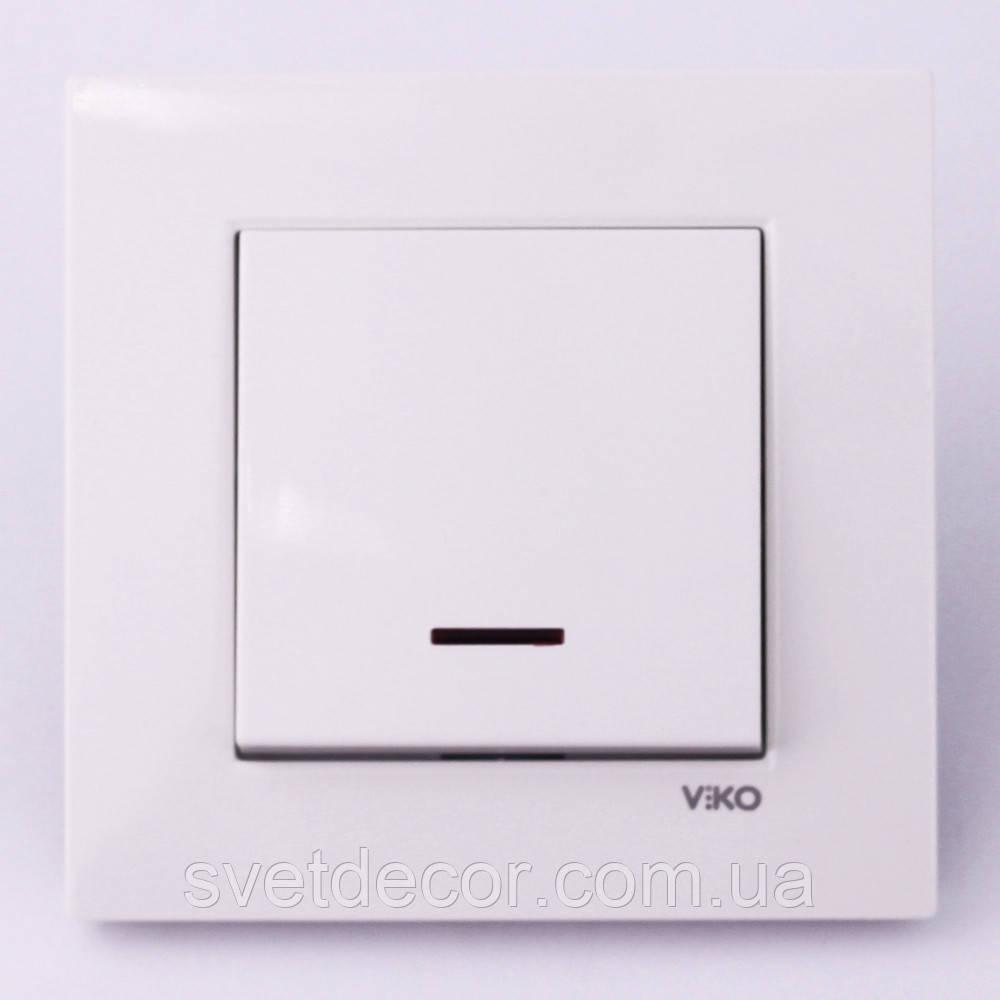 Выключатель одноклавишный VIKO Karre с подсветкой скрытой установки