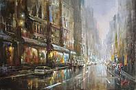«Сияние ночного города» картина маслом
