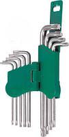 Комплект угловых ключей TORX 9 пр.(с отверстием)