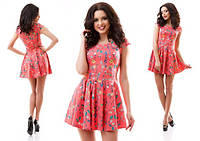 Летнее кораловое платье с цветочным принтом. Арт-3085/20.