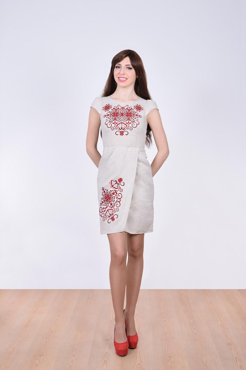 75c988aa7d5 Роскошное платье из льна приталенного кроя юбка на запах с вышивкой -  Оптово-розничный магазин
