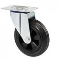 Колеса поворотные с крепежной панелью из стандартной черной резины с полипропиленовым центром (серия 32)