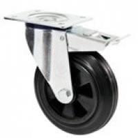 Колеса поворотные с крепежной панелью и тормозом из стандартной черной резины с полипропиленовым центром (сери