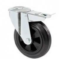 Колеса поворотные с отверстием и тормозом из стандартной черной резины с полипропиленовым центром (серия 32)