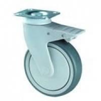 Аппаратные колеса для тележек поворотные с крепежной панелью и тормозом ( 25 серия)