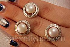 Набор серебряных украшений с жемчугом - кольцо  и серьги