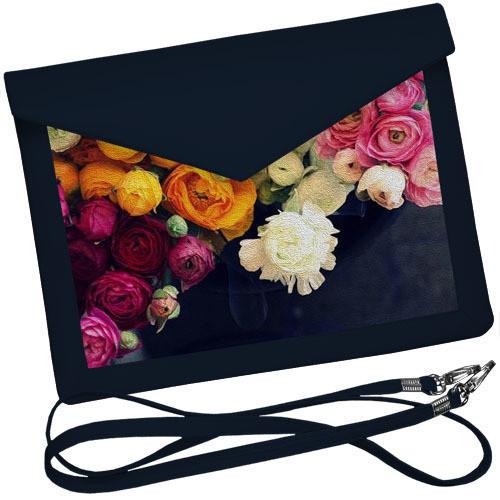 Стильный клатч конверт с розами