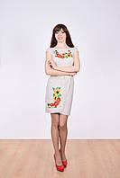 Праздничное женское платье рукава фонарики декорировано украинской цветочной вышивкой