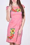 Очаровательное молодежное платье приталенного кроя с вышитым цветочным букетом, фото 2