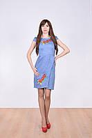 Удобное молодежное платье модного кроя рукава фонарики декорировано вышивкой гладью