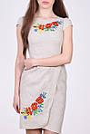 Очаровательное льняное платье приталенного кроя с вышивкой спереди, фото 2
