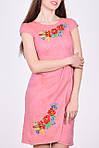 Элегантное льняное платье с коротким рукавом фонарики и вышитыми маками, фото 2