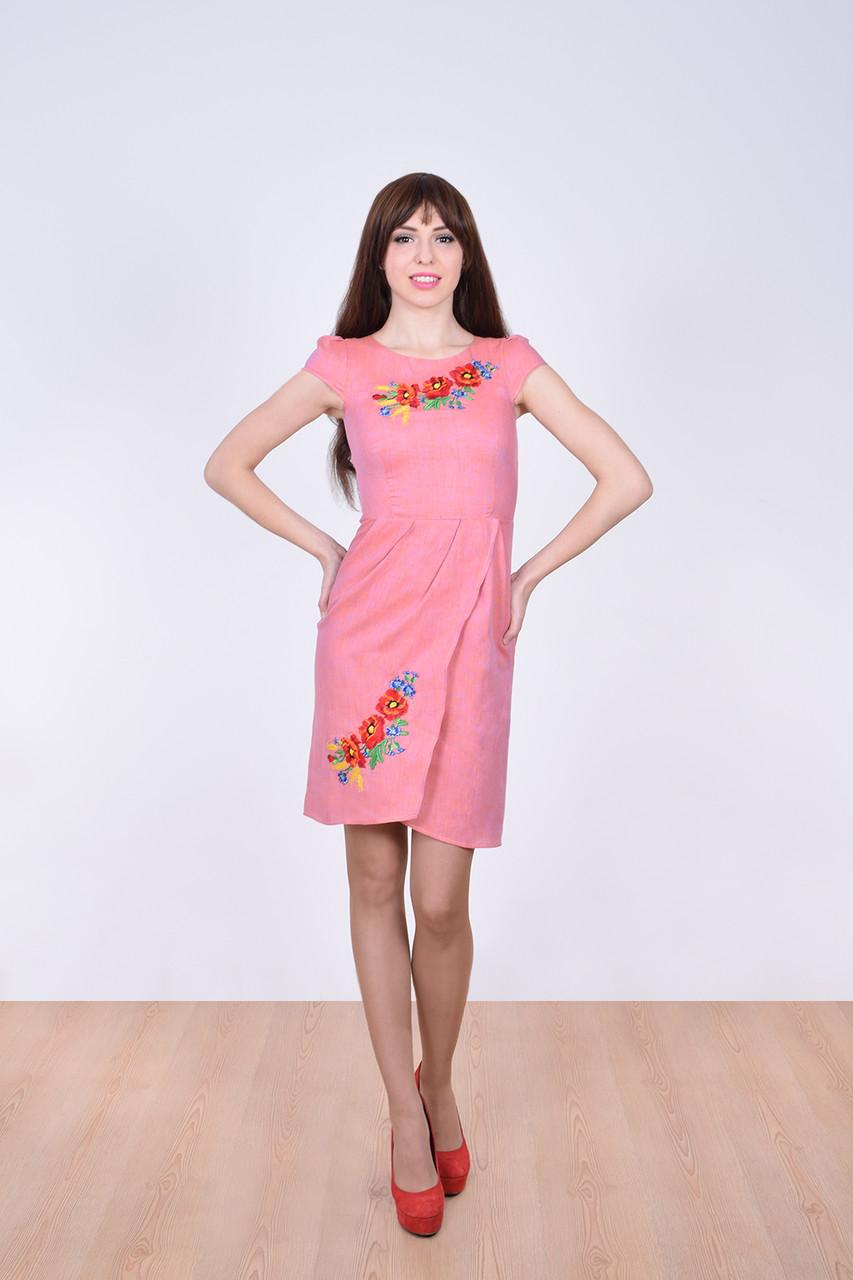 Элегантное льняное платье с коротким рукавом фонарики и вышитыми маками