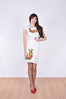 Нарядное платье в белом цвете из льна юбка на запах с вышитыми маками