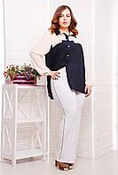 Эластичные брюки прямого покроя с красивым декором в виде тесьмы по бокам, большого размера 50-54, батал