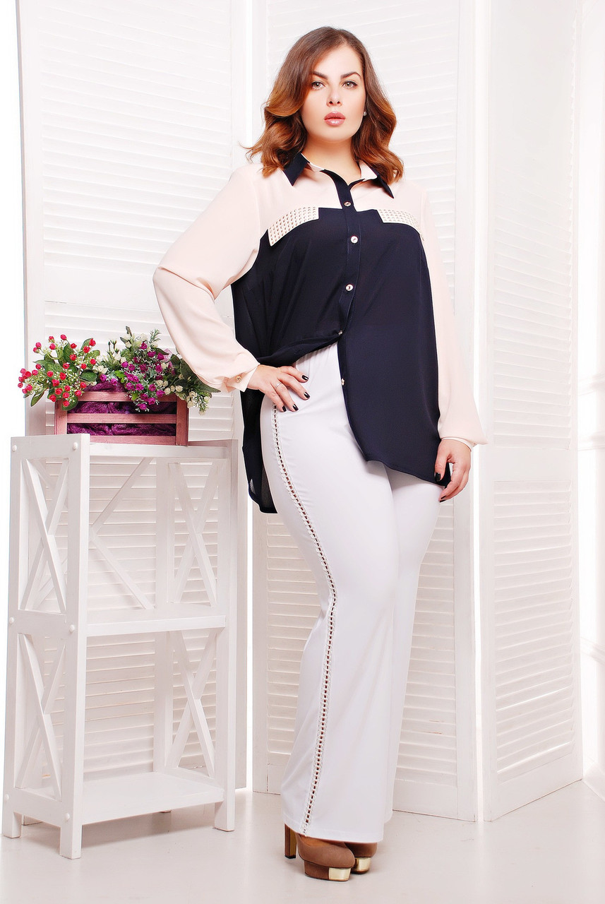 Эластичные брюки прямого покроя с красивым декором в виде тесьмы по бокам, большого размера 50-54, батал, фото 1