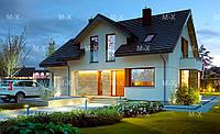 MS135. Проект современного дома с мансардным этажом и комбинированной облицовкой, фото 1