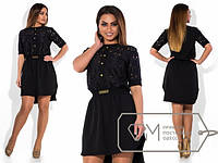 Стильное платье большого размера с кружевом s-1515228