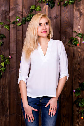 Блузка 207 рукав 3/4 белая размер 44, фото 2