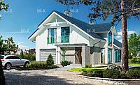 MS136. Современный дом с мансардой и большими окнами, фото 1