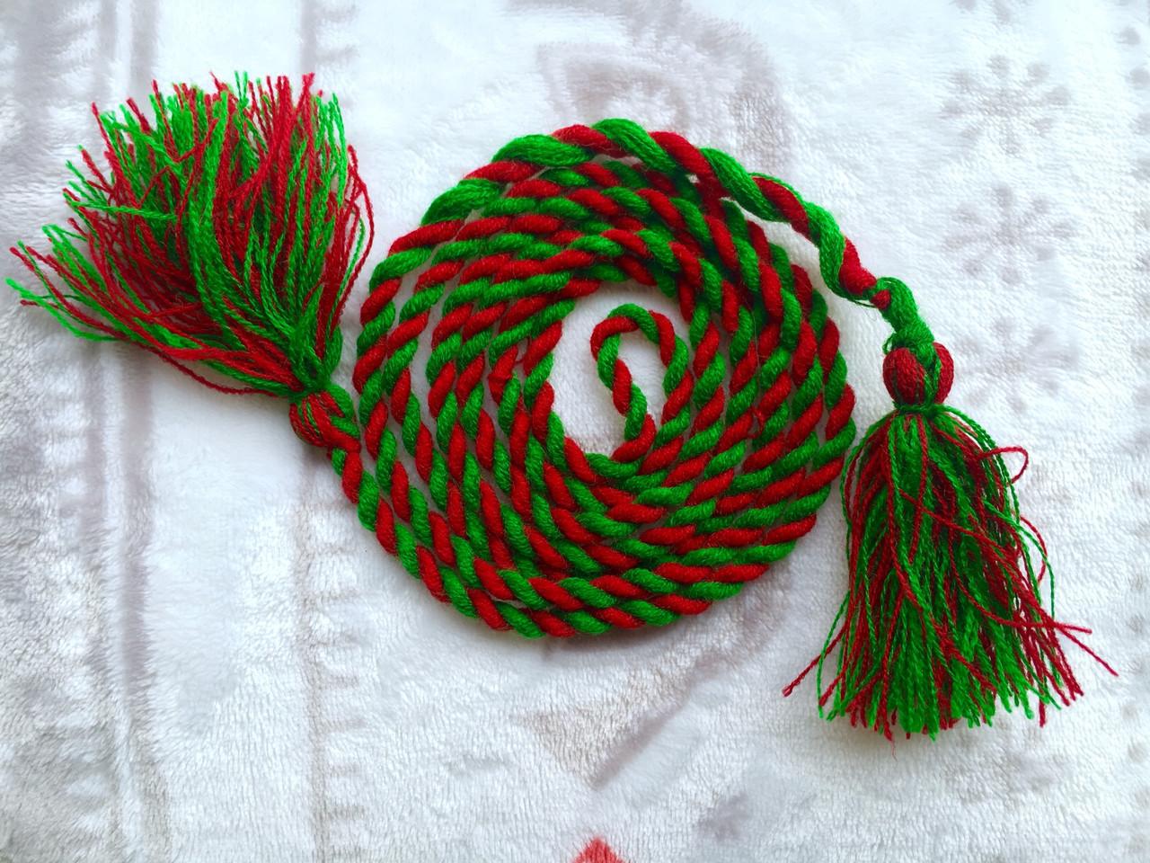 Пояс косичка красно-зеленый