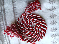 Пояс косичка красно-белый