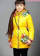 Курточка на девочку демисезонная Цветы желтая 38 р.