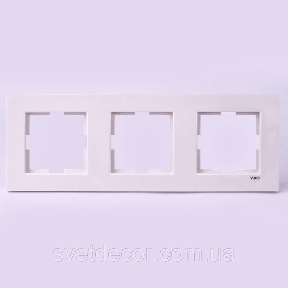 Тройная рамка VIKO Karre горизонтальная, вертикальная скрытой установки