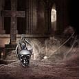 Серебряные байкерские мужские женские серьги для байкера Череп и Пламя 28020, фото 3