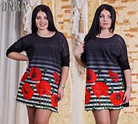 Женская стильная туника с цветами  ДГр7256