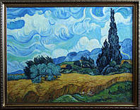 Картина «Пшеничное поле с кипарисом», копия картины Ван Гога купить картину маслом в Киеве