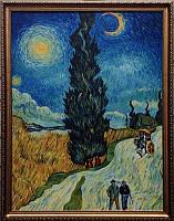 «Пейзаж с дорогой, кипарисом и звездой», копия картины Ван Гога картина маслом
