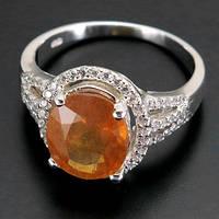Кольцо серебро 925 желтый сапфир 4,90 карат, фото 1